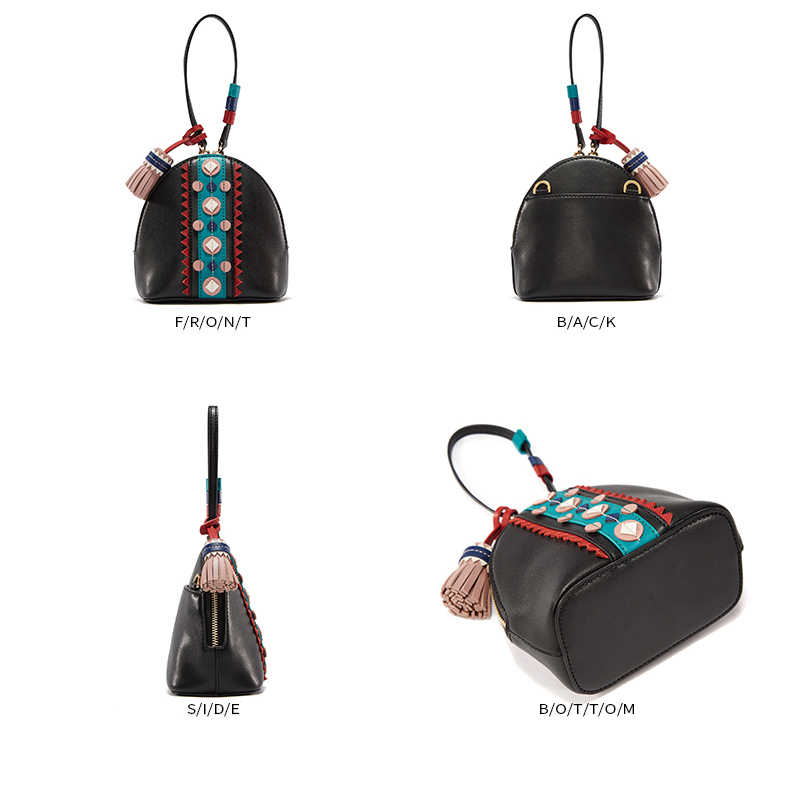 Emini casa estilo indiano sacos de ombro crossbody para as mulheres bolsas de couro bolsas femininas famosa marca borla concha senhoras saco mão