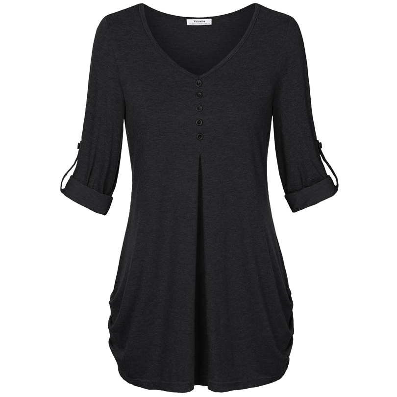 HTB1Fg1 PFXXXXbMXVXXq6xXFXXXl - New Women Summer T-shirt Button Long Sleeve Female