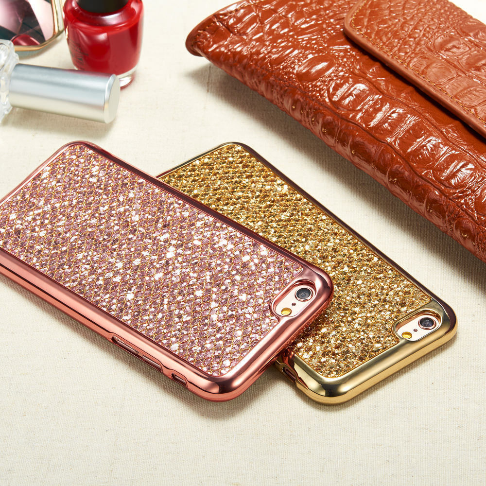 Fashion Glitter Bling Soft Cover Case For Apple iPhone X 10 5 5S SE 6 6S 7 8 Plus Case Phone Protector Coque Gold Silver Pink