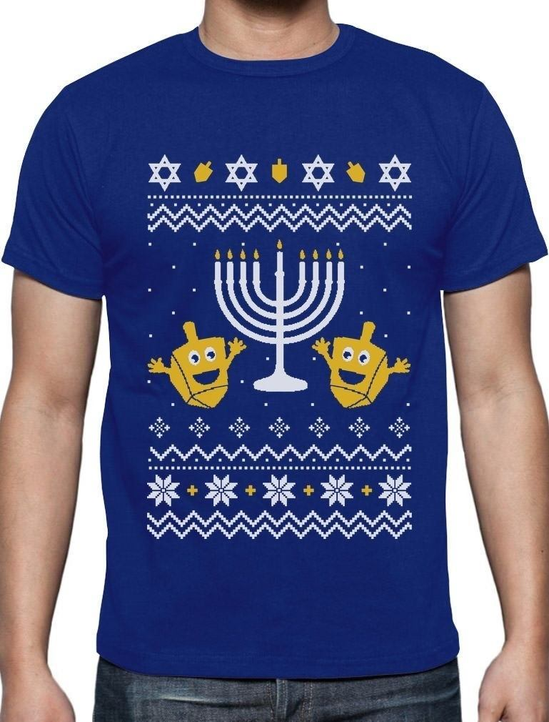 Ugly Christmas Hanukkah Sweater Happy Holidays T-Shirt Gift T Shirt Men Funny Tee Shirts Short Sleeve Tops O-Neck Shirts