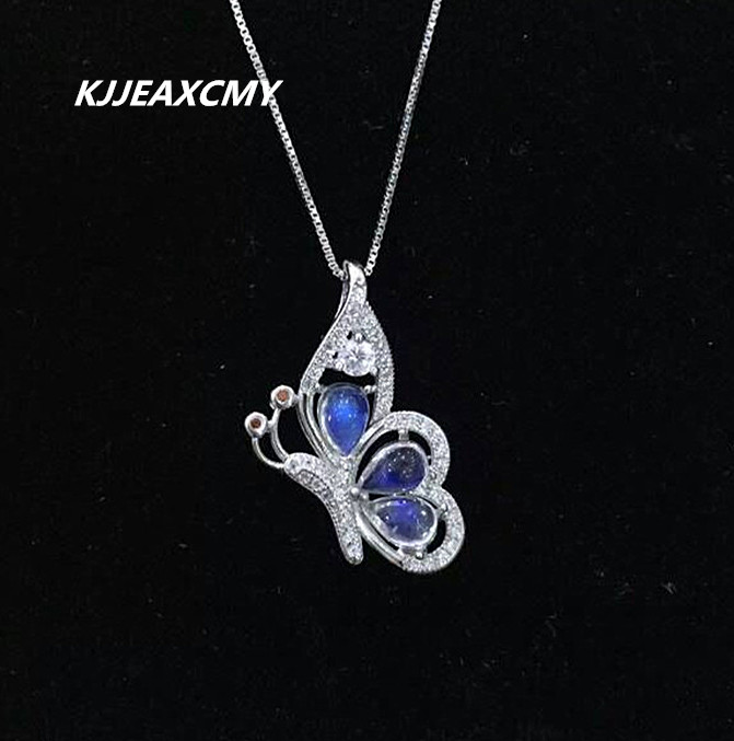 KJJEAXCMY boutique jewelry,Natural stone moonlight pendant blue moonlight silver inlaid jewelry wholesale wholesale S925 s925 sterling silver inlaid natural stone thai silver beautiful burning blue brooch female pendant new products