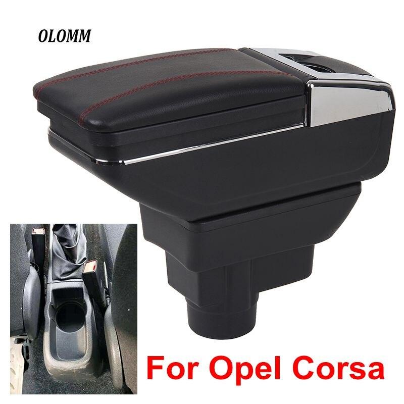 Per Opel corsa Box Bracciolo Opel Corsa D USB di Ricarica intensificare Doppio strato centrale di contenuti Negozio di supporto di tazza posacenere accessori