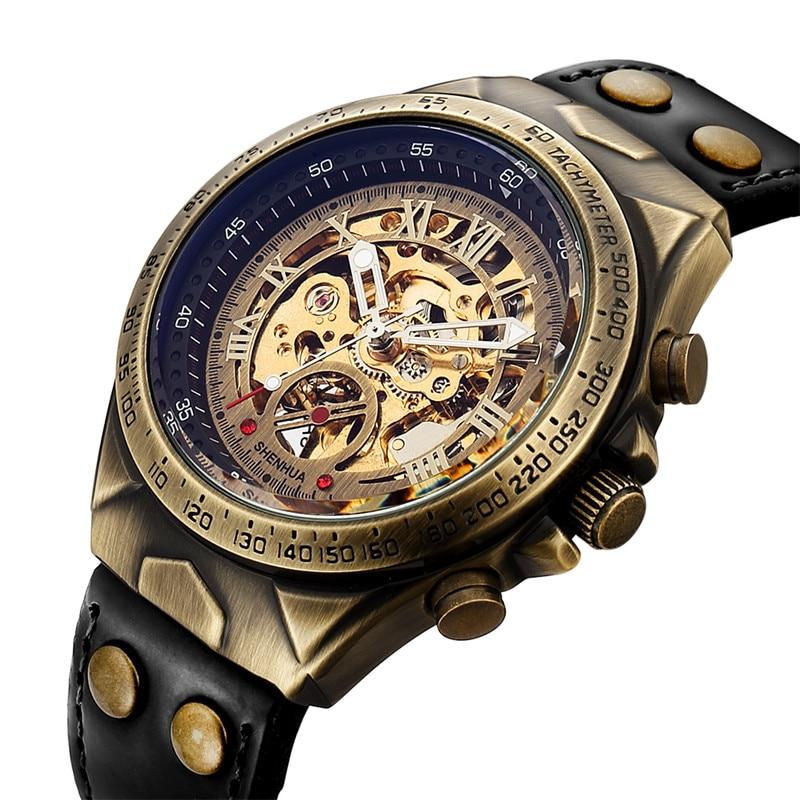 HTB1Fg22XiLrK1Rjy1zdq6ynnpXaf Men Watch Skeleton Automatic Mechanical Male Clock Top Brand Luxury Retro Bronze Sport Military Wristwatch relogio Masculino