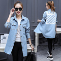 Plus Size 2016 Women Trench Coat Thin Full Sleeve Loose Cowboy Coats Light Blue 8099