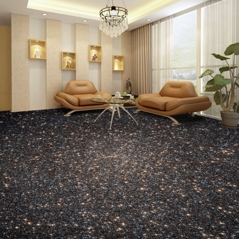 Free shipping custom Starry living room 3D floor anti-skidding thickened bathroom waterproof non-slip mural wallpaper flooring