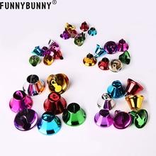 FUNNYBUNNY 5pcs Mixed Color Christmas Jingle Bells Charms Pendants