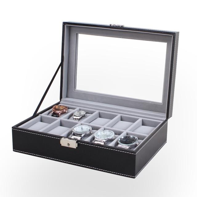 10 Сетки Часы Дисплей Окно Черная Кожа Прозрачный Стеклянный Купол Luxus Watchbox Смотреть Коробка Для Хранения С Замком Случае Коробка Relogio HZ25