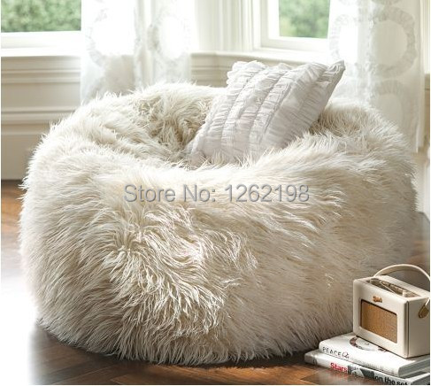Elegant Oversized Bean Bags Long Fur White Beanbag Lounger
