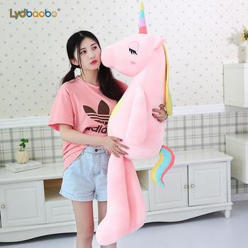 1 adet 60-160 cm Yeni Büyük Yumuşak Unicorn Hayvan peluş oyuncak doldurulmuş oyuncak Kız Hediye çocuk oyuncağı Kanepe Yastık Yastık Çocuklar ev Dekorasyon