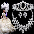 Hot Sale CZ Rhinestone Wedding Jewelry Sets Crystal Bridal Best Presents For Bride Neck+Ear+Tiara