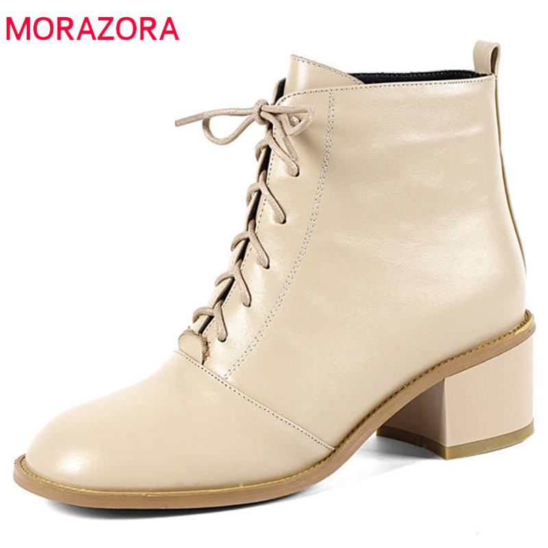 MORAZORA 2018 top quality genuine leather ankle boots women lace up square toe autumn boots fashion high heels dress shoes woman