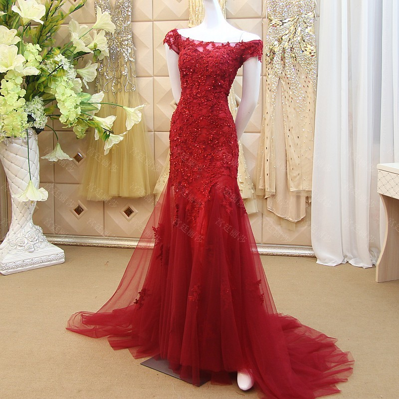 Formal Evening Gown Long Mermaid Elegant Wine Colored Evening Dress Tulle  With Appliques Beaded Abendkleider 2016 Vestido Longo-in Evening Dresses  from ... 2407fbecc6c4