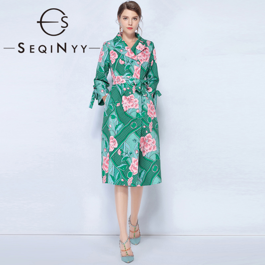 SEQINYY Vintage Trench Coat 2018 Autumn Winter New Woman Fashion Turn-Down Colla