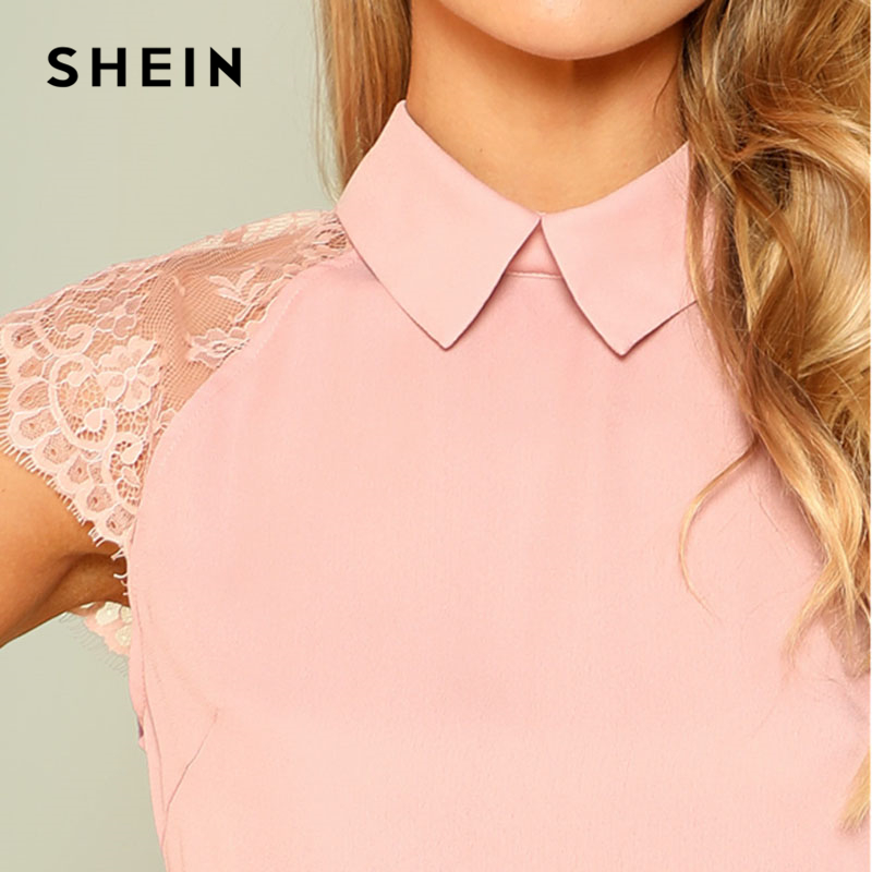 80490ccba4 SHEIN Pink Floral Lace Cap Sleeve Blouse Women Peter Pan Collar Short  Sleeve Button Plain Top 2018 Summer Elegant Blouse-in Blouses & Shirts from  Women's ...