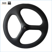 High Quality 700C 66mm Cycling Carbon Tri Spoke Clincher Tubular Front Wheel For Road Track Fixed