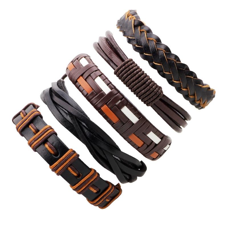 5pcs/set Brown Black White Weaving Braid Wrap Bracelet Sets Adjustable Multilayer Leather Bracelet for Women Men Ethnic Jewelry ...