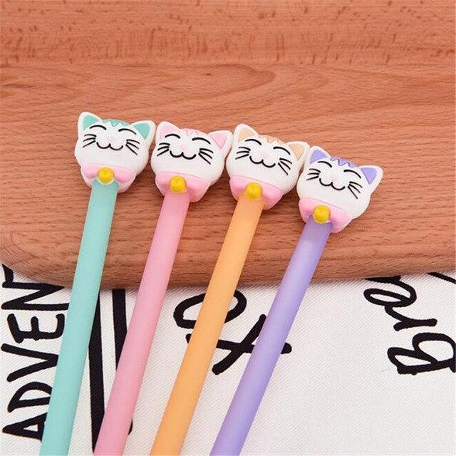 A33 2 шт. Kawaii улыбающегося кота гелевая ручка Ручка-роллер Школа канцелярских товаров дать студент канцелярские черные чернила 0.5 мм