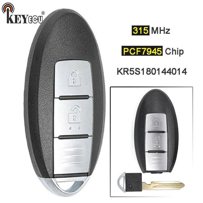 KEYECU FSK 315MHz PCF7945 puce S180144101 KR5S180144014 télécommande intelligente sans clé 2 boutons pour Nissan Aatima x-trail