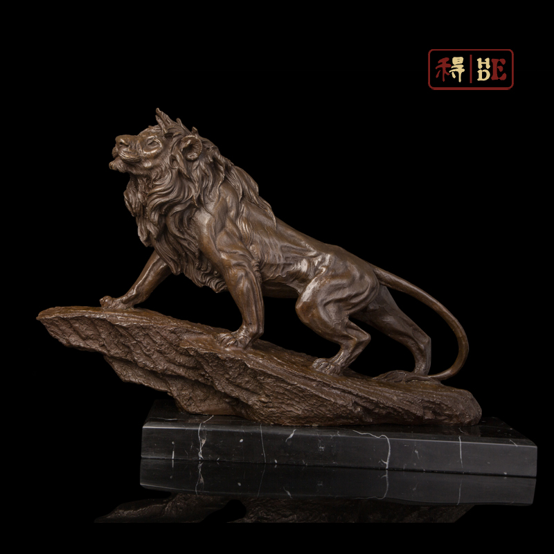 Wo have copper art King Lion Home Furnishing hotel entrance office decoration animal sculpture DW-204