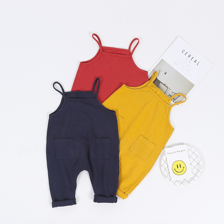 Baby Boy Girls Suspender Pants Newborn Baby Boys Pants Overalls Candy Color Harem Infant Linen Cotton Pants Long Trousers
