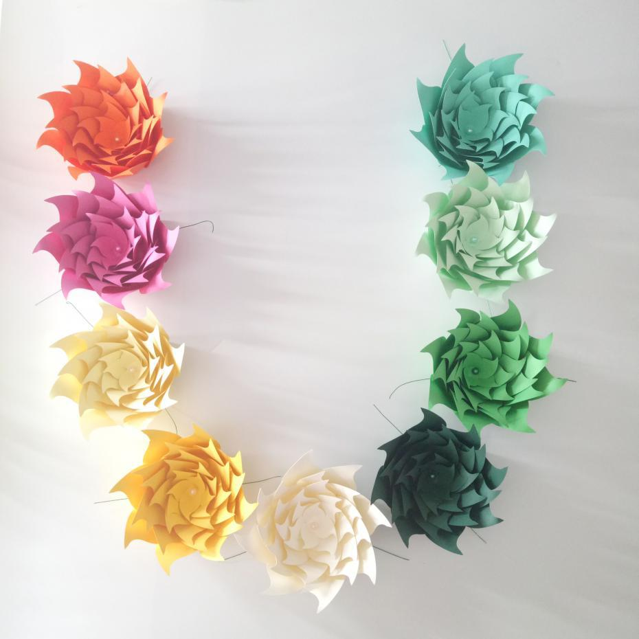 US $12 74 15% OFF|2018 Unique Giant Paper Flowers Wedding Backdrop Hotel  Shopping Mall Nursery Deco Fashion and Trade Show Decoration-in Artificial  &