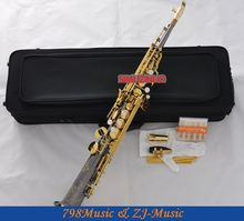 Professional Built-in Soprano Saxophone Black Nickel Sax With Metal Mouthpiece