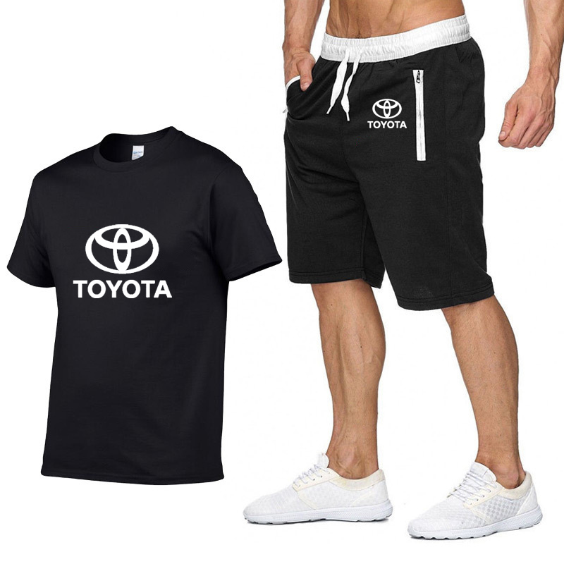 Mens Short Sleeve Toyota Car Logo Casual Summer Mens T Shirt Hip Hop T-Shirt High Quality Cotton T Shirts Shorts Suit Sportswear