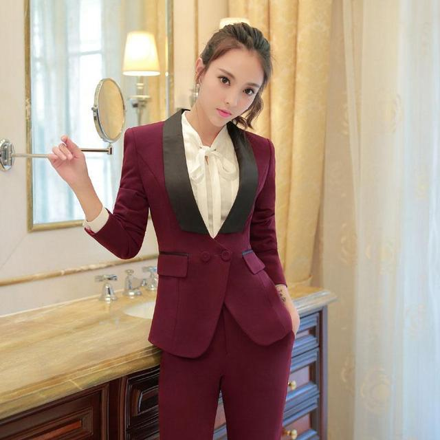 Custom Made Burgundy Women Slim Fit Pants Suit For Business Party Ladies  Wedding Tuxedos B252 01dd748d10