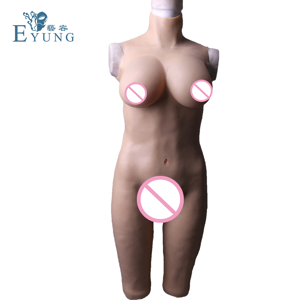 Eyung peitos de silicone com vagina bodysuit para crossdresser zentai terno para europeus tamanho mama formas transexual falso bichano