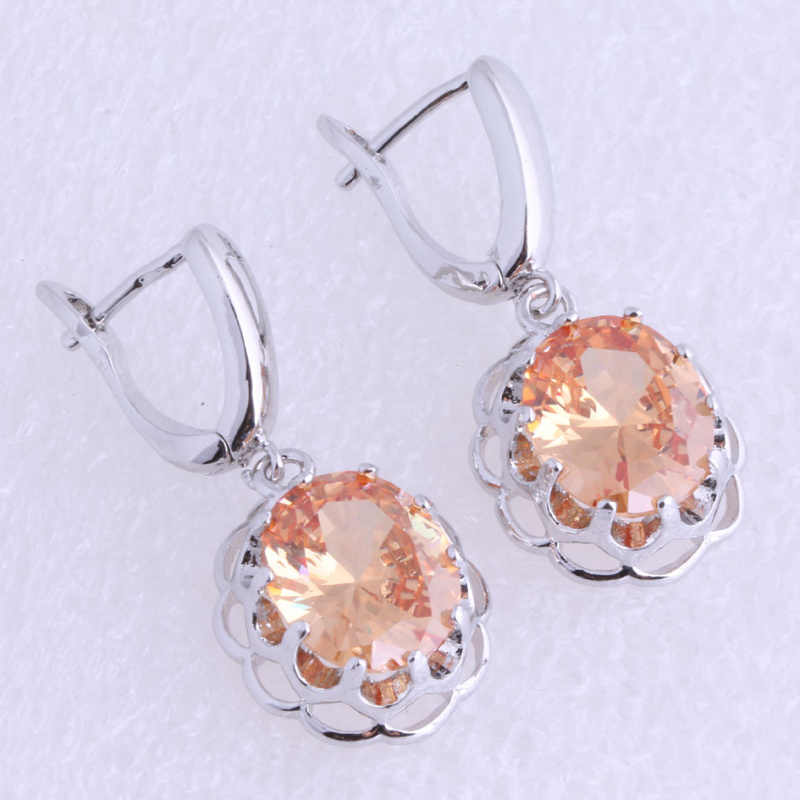 Love Monologue Classic Champagne Imitation Morganite Round 925 Stamp Silver  Plated Drop Earrings Free Gift Bag J0446A