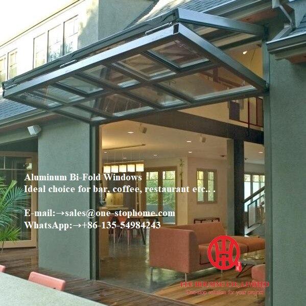 Tempered Glass Powder Coating Aluminum Folding Window,coffee House Window,cafe Window,aluminum Alloy Sheet Bi-fold Window