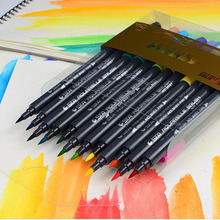 STA 12/24/36/48/80 Color Art Brush Sketch Marker Pens Water Based Ink Twin Tip Marker Pen for Art Graphic Drawing Manga Fine Art