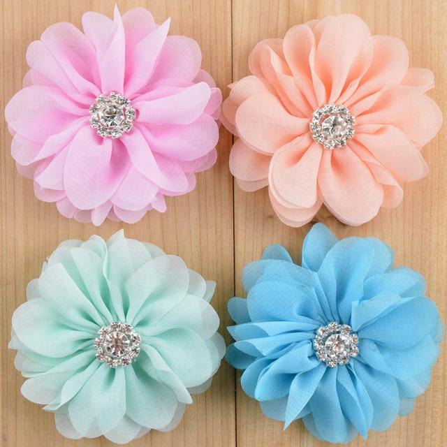 30 pcs/lot, 2.75 inch Chiffon flowers with Rhinestone 15 colors
