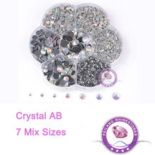 Mix 7 Sizes Crystal AB Hotfix DMC Rhinestones Size From SS6 To SS40 For DIY