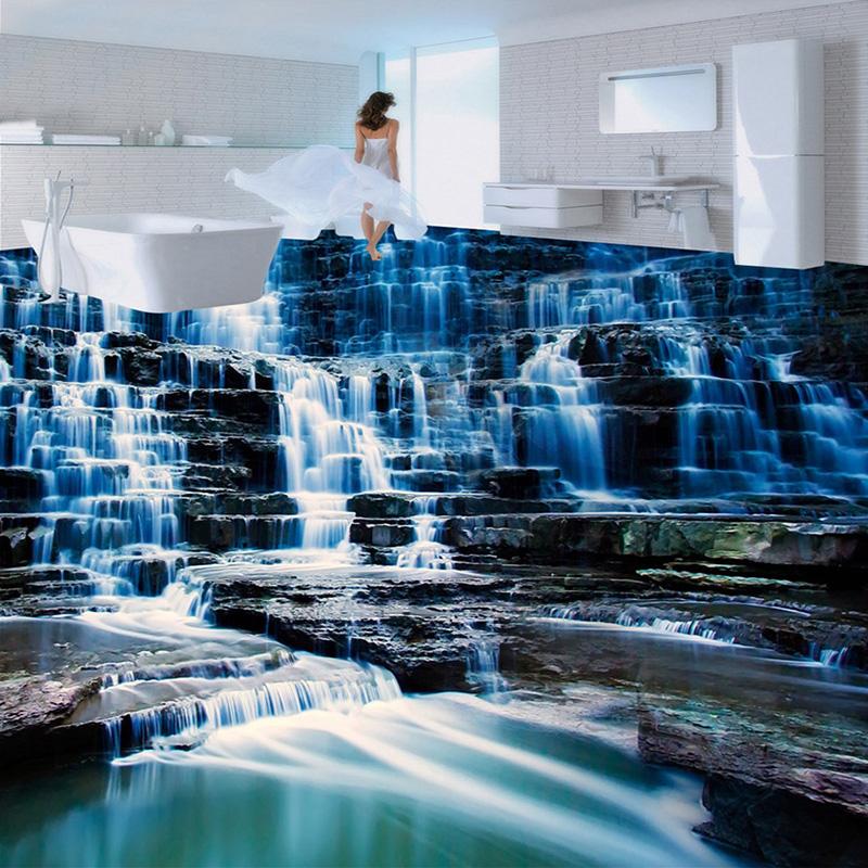 Benutzerdefinierte 3d Boden Tapete Mural Hd Wasserfall Landschaft Vinyl  Tapete Für Badezimmer Wohnzimmer 3d Boden Malerei
