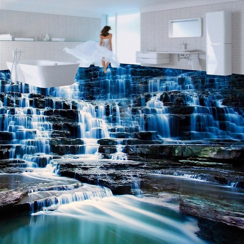 US $13.39 55% OFF|Nach 3D Boden Tapete Wandbild HD Wasserfall Landschaft  Vinyl Tapete Für Badezimmer Wohnzimmer 3D Boden Malerei Wasserdicht-in ...