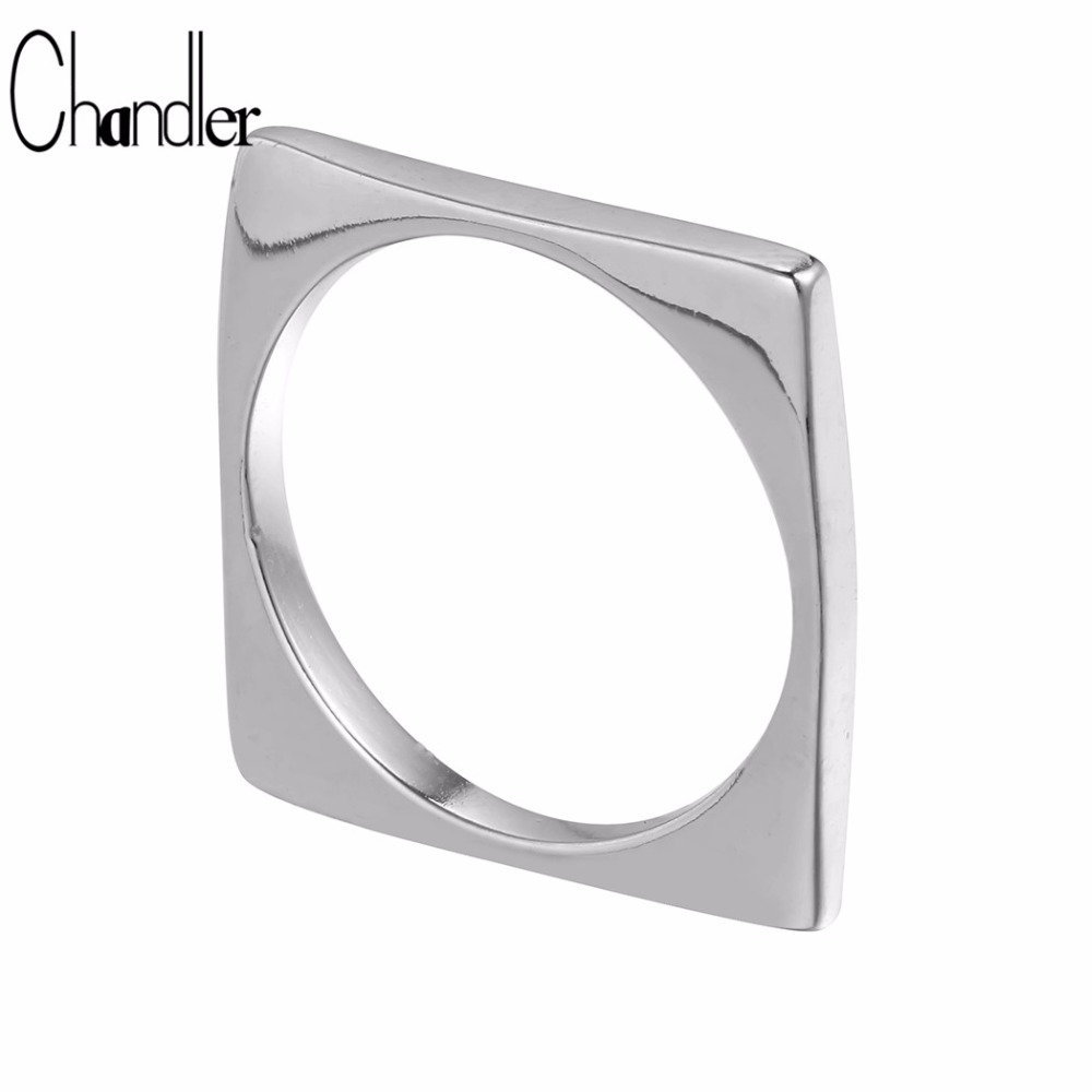 Chandler Brand Original 925 Sterling Silver Jewelry Square Rings For Women Punk Gothic Heart Bague Hand