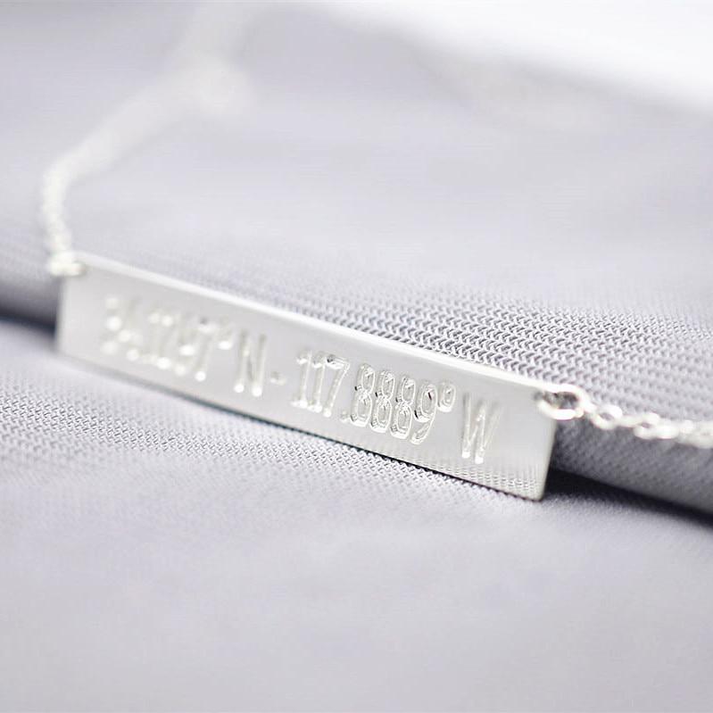 Sólida Barra De Prata Gravura Coordenar Longitude Latitude Pingente Personalizado Personalizado Selo Memorial Jóias collier colar