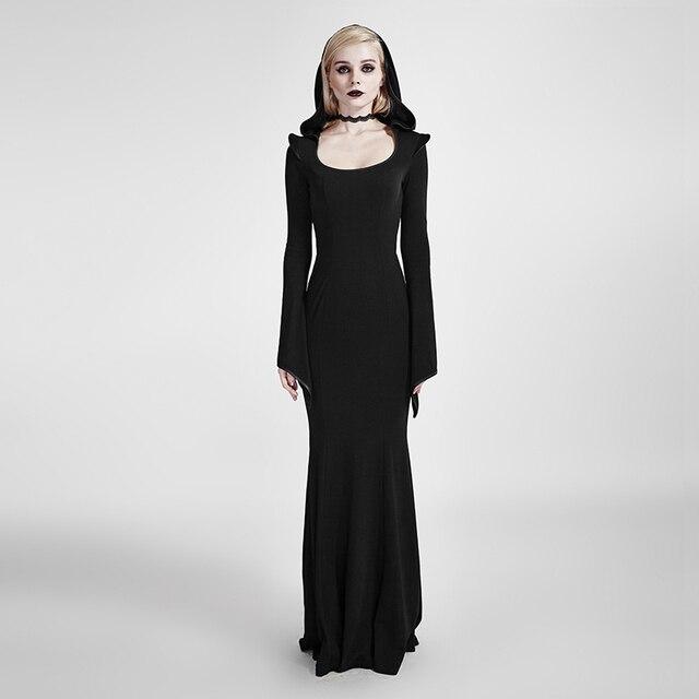 bf6f8f5363797 Gothique femmes longue robe avec capuche Steampunk noir à manches longues  étage-longueur robe Halloween
