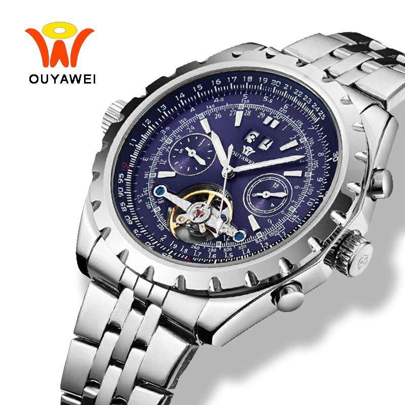 Ouyawei Tourbillon Mechanical Watches Men Military Luminous Auto Date Big Automatic Self Wind Silver 50mm Case Watch Men Clock tevise auto date automatic self wind watches stainless steel silver gold black watch men mechanical clock 9017 with box