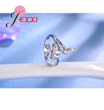 Original 925 Sterling Silver Jewelry for Women Wedding Bride Exquisite Flower Rings AAA+ Cubic Zirconia Female Bague 3