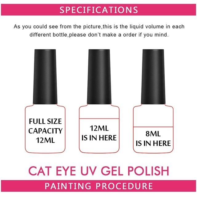 Huration 3D Magnetic Red Cat's Eye Nail Gel Lacquer 6 Colors Nail Art Flame Primer UV LED Gel Varnish 8ML Nail Gel Polish Set 5