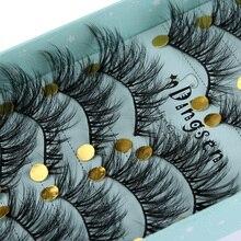 10 Pairs ثلاثية الأبعاد لينة فو المنك الشعر الرموش الصناعية الطبيعية فوضوي رمش تقاطعات Wispy رقيق جلدة تمديد أدوات ماكياج العين