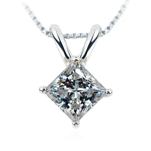 TN201 Vintage 2CT sona Synthetic Gem Princess cut Necklace Wedding Pendant Necklace For Women