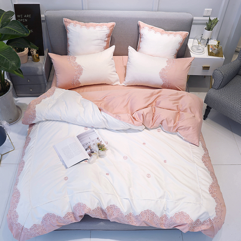 Super King Size Duvet Cover Egyptian Cotton Sweetgalas: 2018 Pink Embroidery Bedding Set Egyptian Cotton Duvet