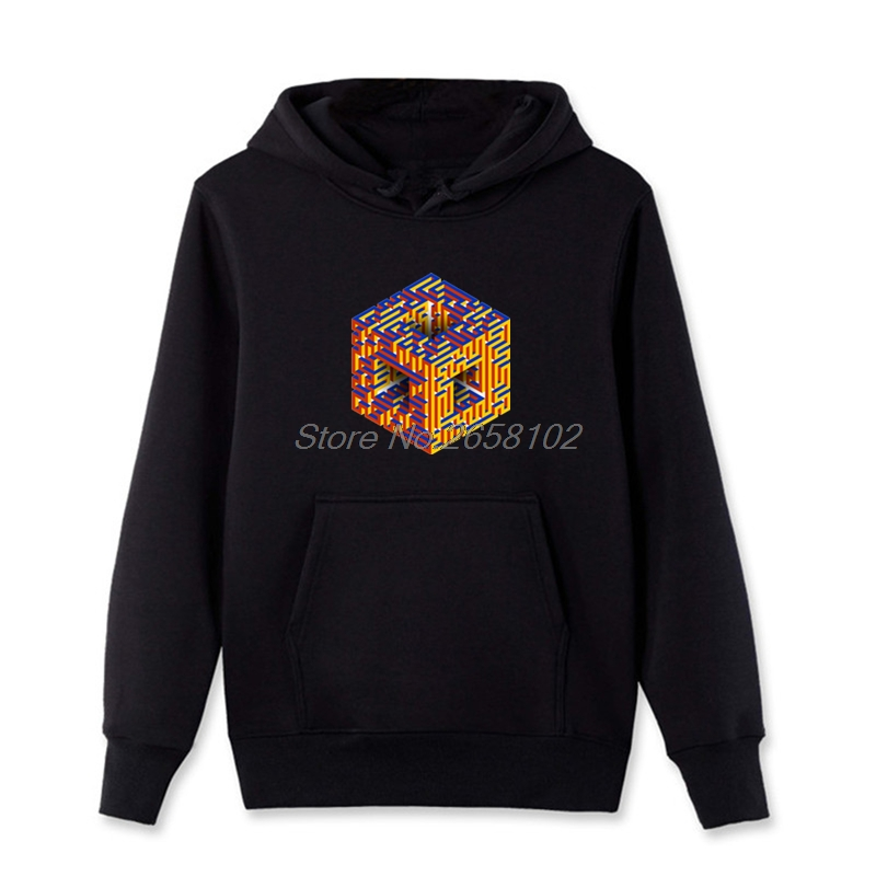 Men's Clothing Geek Rubiks Cube Maze 3d Print Men Hoodie Gift Casual Cotton Coat Sweatshirt Boyfriends Cool Geometric Tops Streetwear