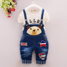 2016 Spring Baby Girls Clothing Set Children Denim Overalls Bear Jeans Pants+letter T-shirt Full Sleeve 2pcs Kids Clothes Set