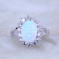 New Design White Opal And Cubic Zirconia Ring 925 Stamp Silver Plated J0531 Size 7 8