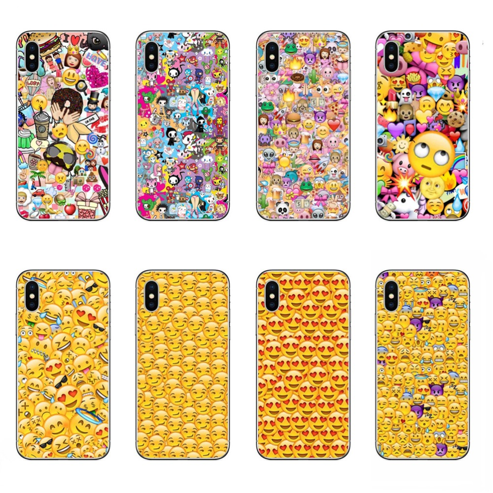 chat expression Bag Smiley Faces Emoticon Emoji Hard plastic phone Casesfor iphone 5s 5 6 6s 7 8 Plus X 10 Coque Shell