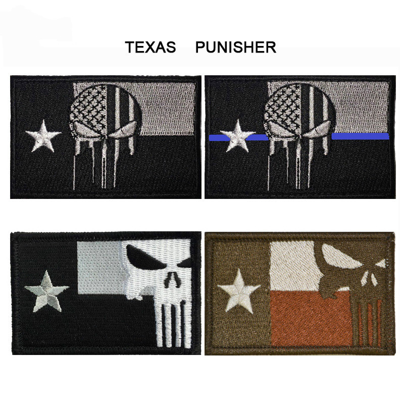 GUGUTREE embroidery HOOK LOOP texas state flag patch punisher flag patches badges applique patches for clothing AD 385 in Patches from Home Garden